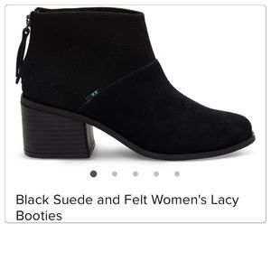NEW TOMS Lacy suede felt mix bootie